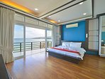 Oceanview master bedroom with terrace patio