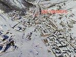 Localisation de la résidence Les Verdets à 250m du front de neige