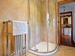 Wren Cottage traditional ground floor shower room with rain head shower