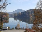 Lake Junaluska can be seen from dining, kitchen and living areas.