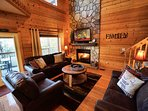 Comfortable living room with natural gas fireplace.