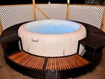 Spa for day or night use with privacy surround