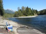 Granite Rock riverfront beach in the summer. Swim, Fish, and enjoy!