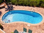 28x15 Private Salt Water Pool! Overlooks the lake, has lounge chairs and dining options outside!