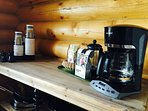Coffee bar stocked with to-go coffee cups! Great when you want to hit those trails!!!