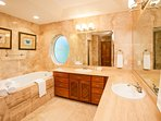 Master Bath with walk in shower and separate jetted tub