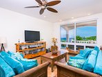 The living room overlooks Half Moon Bay