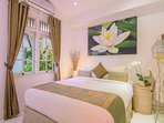 Bed 3 ~ Double bed with A/C + fan & dvd, over looking the pool & fish pond