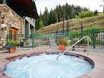Relax after a long day in one of the two community hot tubs