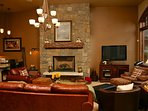 Gas Fireplace and flat screen TV- the perfect place to get cozy after a long adventurous day!