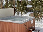 After a long day take a dip in the outdoor hot tub