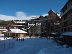Private balcony with great views of the winter activities at the slopes