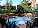 Relax after a long day in two shared outdoor hot tubs