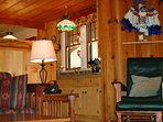 Cabin is decorated with beautiful Native American Artifacts