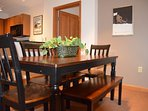 Large dining table that seats six comfortably