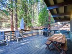 Large deck overlooking the meadow is perfect for large gatherings and wildlife viewing, particularly deer in season...
