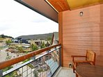 Sun soaked balcony overlooking the base area village