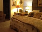 King size bedroom with queen size sofa bad and private bath and tv