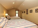 Fourth bedroom on upper level with two NEW Queen beds