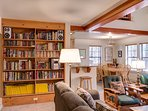 Living room with book library