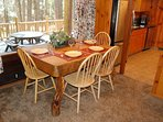 Dining table with large picture window
