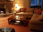 Living room with new sleeper sectional (10/2016)! Great place for a family game night or just relaxing.