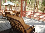 Very large back deck, plenty of luxurious seating for your family and friends to enjoy the experience.