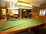 Game room with pool table, downstairs