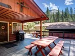 Front deck with gas grill, partially covered deck, and a view of Wawona Dome