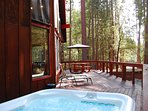 Two person hot tub on front deck
