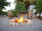 Stone fire-pit to enjoy outdoor fire during fall and winter.