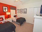 Bedroom 5 with twin beds, Disney theme and flatscreen TV