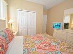 Bedroom 5 has queen bed, TV