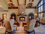 Great Room with 5-foot high fireplace