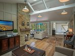High ceilings create space and and open feel