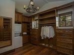 Convenient laundry area in Master Bedroom #1 closet