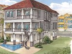 This rear facing rendering shows the pool and balconies directly on the Gulf