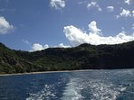 A view of Rendezvous Beach from the sea: Montserrat's only white sand beach, and a great spot to snorkel and dive. You...