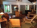 The property has ample indoor seating areas, including these relaxing Adirondack styled chairs.