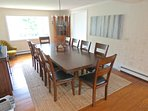The dining room is spacious with a new table