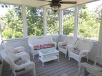 The screened porch makes a great place for quiet reading or socializing before and after dinner.  It's so nice to enjoy...