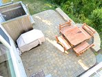 Bird's eye view of the rear patio from the MBR deck.