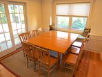 Two drop-leaf tables can be placed together providing a spacious dining venue with comfortable seating for up to 10.