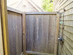 Rinse off the salt and sand from the beach in this roomy outdoor shower, one of the great pleasures of summer on Cape...
