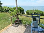 There's a knee-high faucet on this corner of the deck to rinse the sand off your feet as you return from the beach.