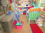 The storage shed is well stocked with beach equipment.  You'll also find the filled spare propane tank for the grill ...