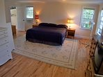 Master bedroom is very large with a King Bed   The main level master bedroom.  It is so large, even the king size bed...