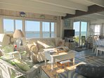 The interior is bright and beachy.