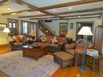 The main living room is spacious and adorned comfortably