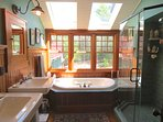 Master bathroom has a tile and glass shower, jetted tub and dual vanity